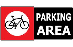 Only Bicycle Parking Area Sign Label Stock Images