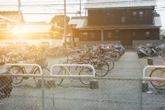 Bicycle parking area on the way to Himeji Castle help reduce tra. Ffic jam in Japan on April 15 2017 Stock Images