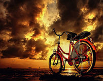 Bicycle Parking At Cloudy Morning Stock Image