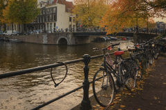 Bicycle parking with autumnal mood ... Blue Hour in Amsterdam, gives romantic mood stock photography