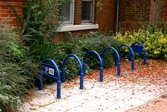 Bicycle parking bays unused. Empty bike racks outside for public use at a doctors surgery in bingham nottinghamshire england Stock Photography