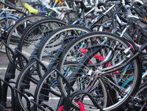Bicycle parking. A beautiful mess Royalty Free Stock Photography