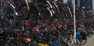 Bicycle parking in the big city Stock Photos