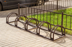 Bicycle parking without bikes Stock Images
