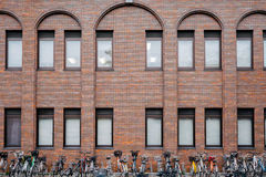Bicycle parking and building. Royalty Free Stock Photography