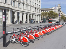 Bicycle parking in the center of Barcelona Stock Image