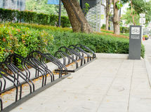 Bicycle parking in the center of the city, ecological mobility Royalty Free Stock Photography