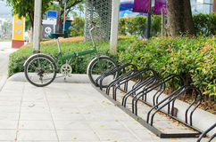 Bicycle parking in the center of the city, ecological mobility Stock Images