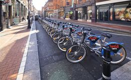 Bicycle parking in the center of Dublin Stock Photos