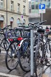 Bicycle parking in the city. Center of Bern, Switzerland Stock Image
