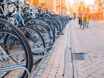 Bicycle parking in the city center in most students city in Netherlands - Groningen stock images