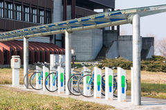 Bicycle parking in city, ecological mobility Stock Photo