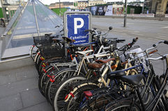 BICYCLE PARKING. Copenhagen / Denmark_  04 January 2017 -Bicycle parking at kongens nytorv station       Photo. Francis Joseph Dean/Deanpictures Royalty Free Stock Photo