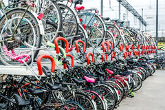Bicycle parking in Eindhoven Central Station Stock Photography