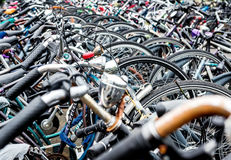 Bicycle parking in Eindhoven Central Station Royalty Free Stock Photo