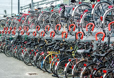 Bicycle parking in Eindhoven Central Station Stock Photo