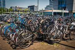 Bicycle parking in Eindhoven city central station Stock Image