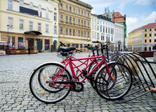 Bicycle parking in a European city. A healthy lifestyle Stock Photo