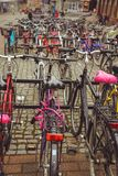 Bicycle Parking in the Finnish city of Jyvaskyla. many bicycles of different colors stock photos