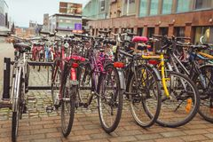 Juvaskyla, Finland - may 2019: Bicycle Parking in the Finnish city of Jyvaskyla. many bicycles of different colors royalty free stock photo