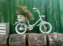 Bicycle parking. Bicycle flowers parking Royalty Free Stock Images