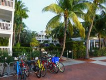 Bicycle parking at the hotel Royalty Free Stock Image