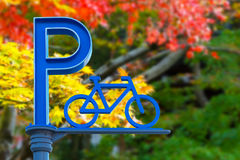 Bicycle parking icon in Odaiba, Tokyo Stock Photography