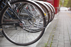 Bicycle parking in Japan. Close up of bicycle parking in Japan Royalty Free Stock Photography
