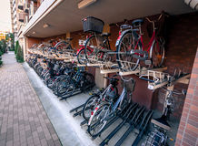 Bicycle Parking in Japan. Kawagoe, Japan - January 20, 2015:  Bicycle storage system in Japan Stock Photos