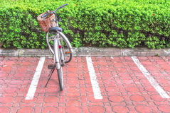 Bicycle parking. Lonely bicycle on a parking lot Stock Photography