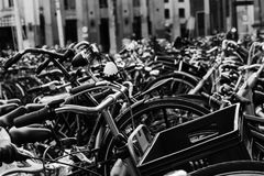 Bicycle parking lot in Amsterdam Royalty Free Stock Photography