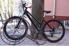 Bicycle in parking lot. Outdoors Royalty Free Stock Photo