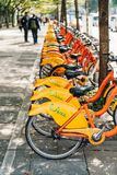 Bicycle Parking Lot of UBike. YouBike is the public bike sharing service on footpath in Taipei, Taiwan.  stock photos
