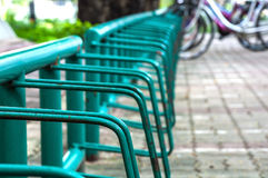 Bicycle parking lot. In a university Stock Image