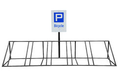 Bicycle parking. Made steel painted black isolated on white background Royalty Free Stock Photography