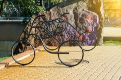 Metal parking in the form of a bicycle. Bicycle parking. Metal parking in the form of a bicycle. Urban style Royalty Free Stock Image