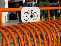 Bicycle parking metal spring Stock Images