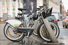 Bicycle parking in Moscow Stock Images