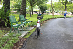 Bicycle parking near the chair in the garden Royalty Free Stock Images