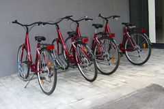 Bicycle parking near the house, urban lifestyle stock photo