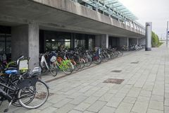 Bicycle parking near the metro station. Copenhagen Royalty Free Stock Images