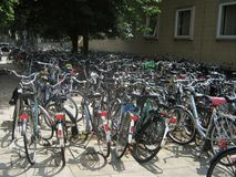 Bicycle parking in Netherlands royalty free stock photo