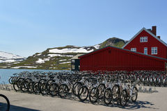 Bicycle parking in Norway stock photo