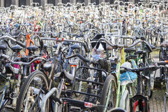 Bicycle parking organized chaos in Amsterdam, Netherlands Royalty Free Stock Photo