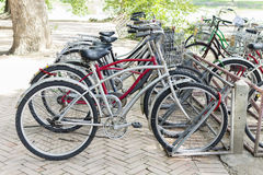 Bicycle parking. Outdoor Stock Photos