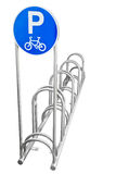 Bicycle Parking. Photo of a bicycle parking sign and rack in Bangkok Stock Photo
