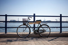 Bicycle. Parking in the pier of alexandria, egypt Royalty Free Stock Photos