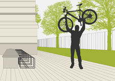Bicycle parking place near school concept Royalty Free Stock Image