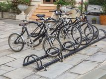 The bicycle parking. In public Stock Image