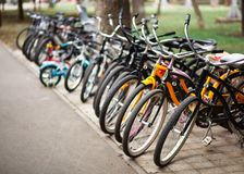 Bicycle parking in a public park stock photography